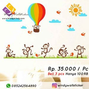 jual wall sticker monkey makassar